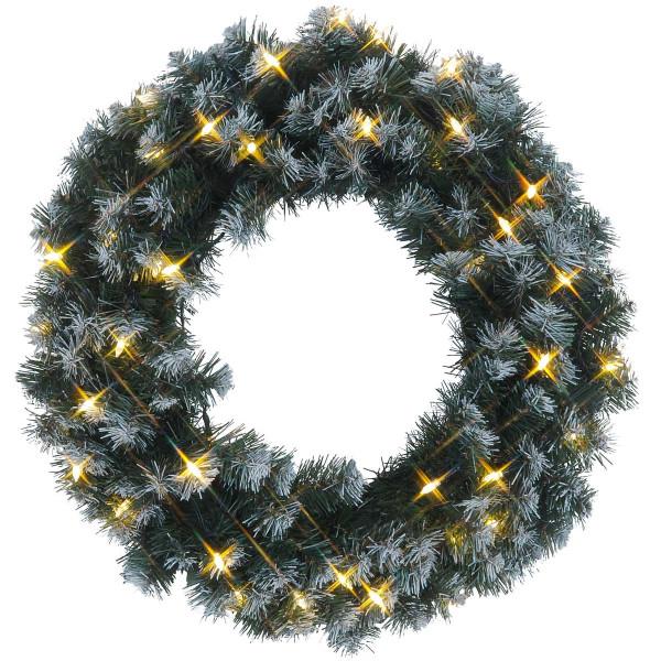 Tannenkranz mit Schneedecor Ø 50 cm, 40 Pisello LED warmweiss, outdoor