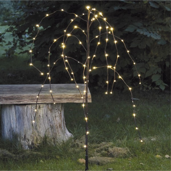 Weidenbaum, braun, Höhe 110 cm, 96 LED warmweiss, outdoor