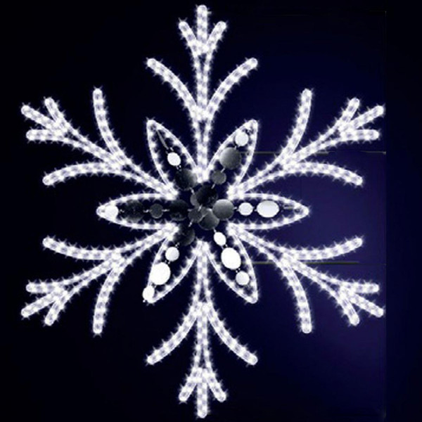 Schneeflocke Jessy 125, H125, B110cm, kaltweiss, Glitter, Mauermontage