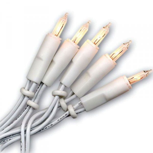 Lichterkette Mini, 35 Push in Birne, Kabel weiss, indoor