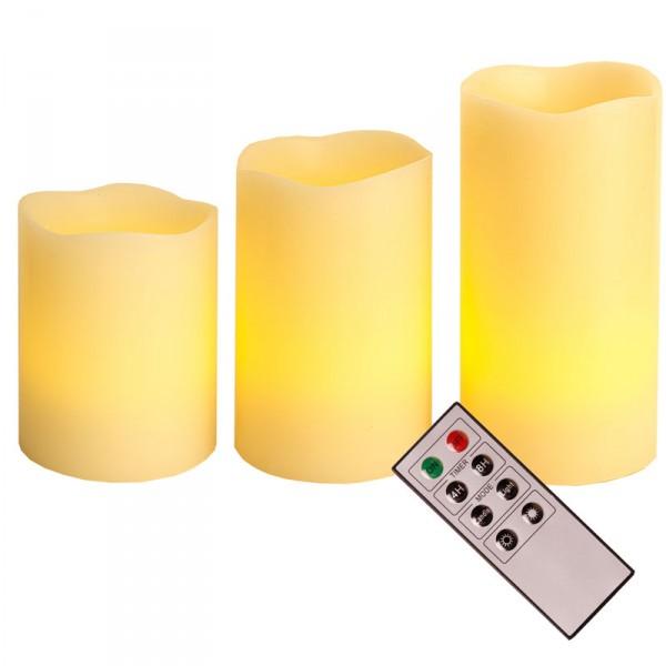 Wachskerzenset mit 3 Kerzen LED, Fernbedienung verschiedene Modi, Timerfunktion,