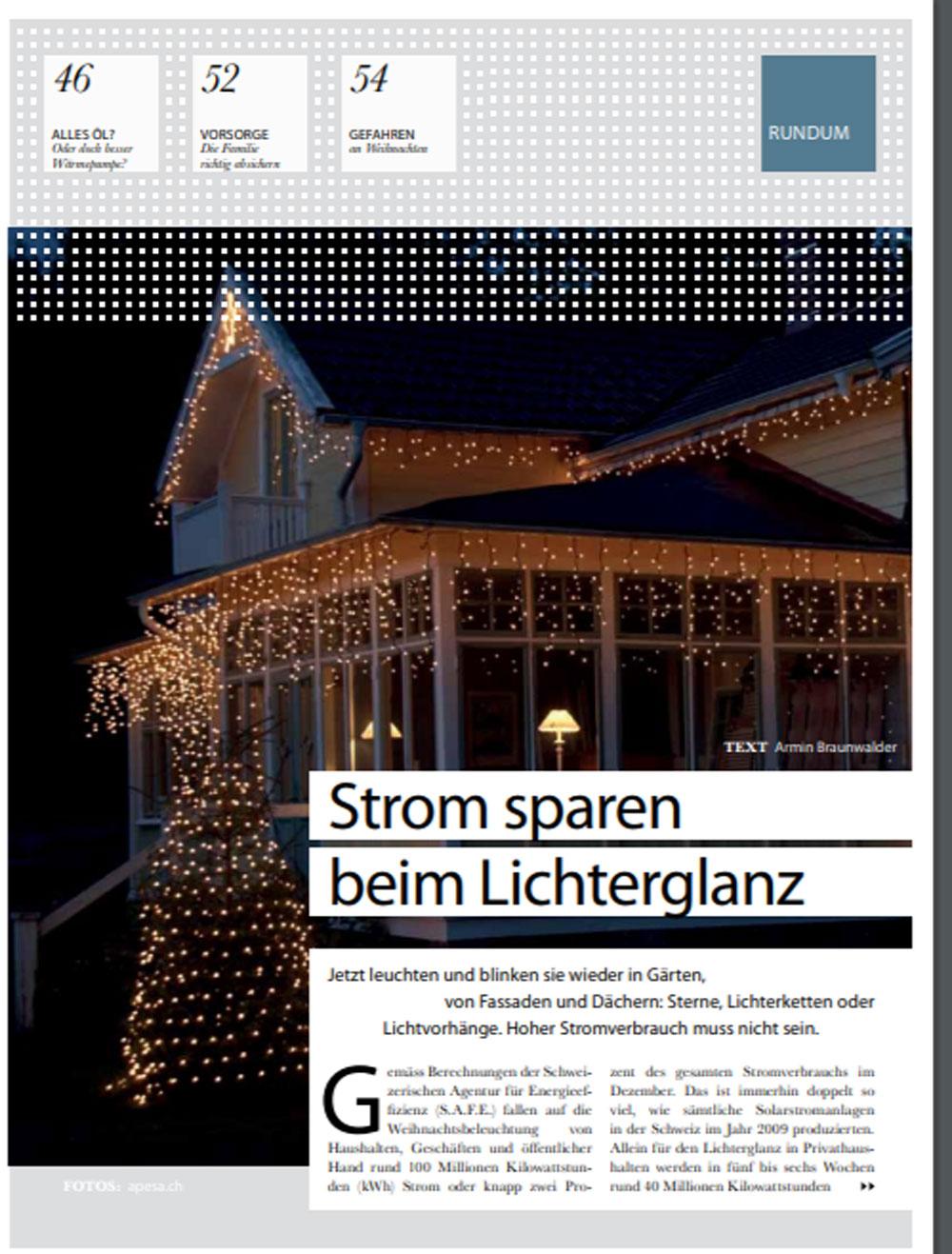 Pressetext aus Haus Club Magazin über die APESA-Weihnachtsbeleuchtung