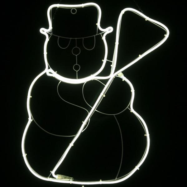 Schneemann, 2-seitig, Silhouette, LED weiss, Neon-Flex, L50, H70cm