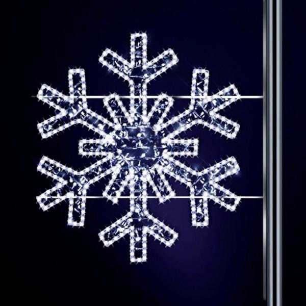 Schneeflocke Gabriela 120, H120, B125cm, kaltweiss, leicht blinkend, Pfostenmontage