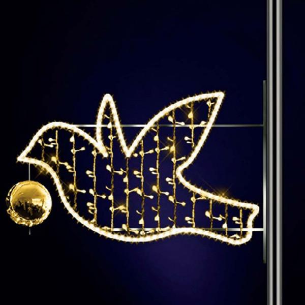 Lichtfigur Hermes 100, H110, B170cm, warmweiss, Kugel gold, Pfostenmontage