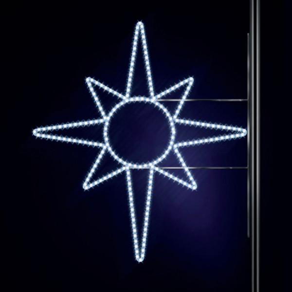 Leuchtstern North Star 130, H130, B125cm, kaltweiss, Kandelaberbeleuchtung, Pfostenmontage