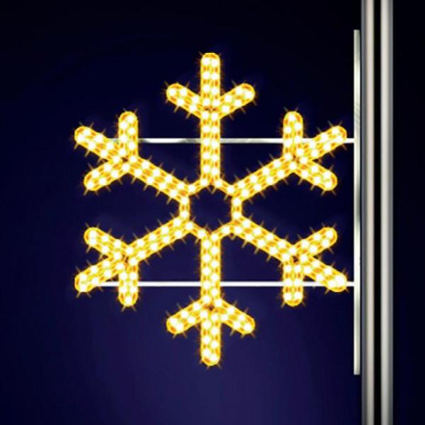 Schneeflocke Mini 70, H70, B80cm, warmweiss, Strassenlichter, Kandelabermontage