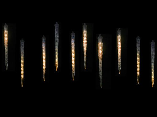 Snow Motion Eiszapfenlichterkette, 10 warmweiss LED Zapfen, 100 LED