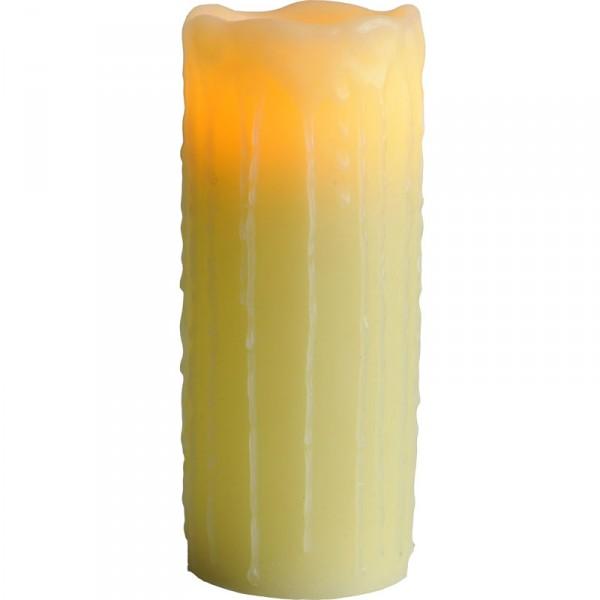 Echtwachskerze LED Leuchtkerze mit Echtwachs, flackernd, amber, batteriebetriebe