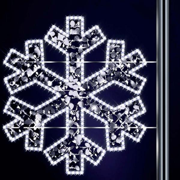 Schneeflocke Gabriel 120, H120, B125cm, kaltweiss, mit Glitter, Pfostenmontage