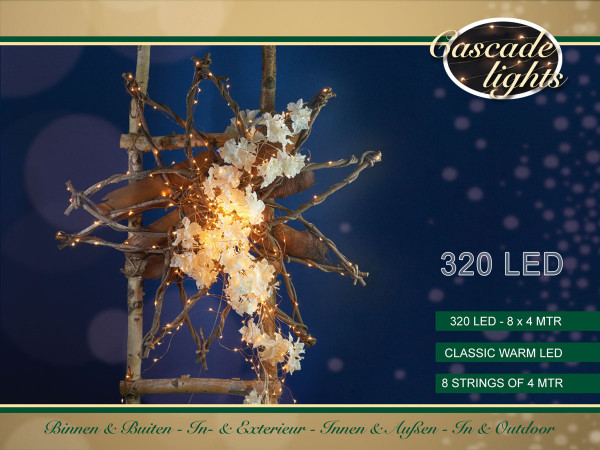 Drahtlichterkette kupfer, 8 Stränge à 400cm 320 LED warmweiss, Outdoor