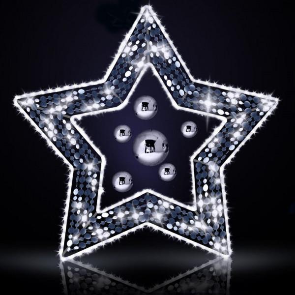 Weihnachtsstern Joan 125, H115, B125cm, kaltweiss, Glitter, Wandmontage