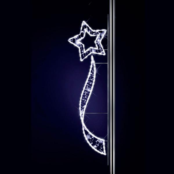 Leuchtstern Mia 250, H250, B75cm, kaltweiss, Strassenbeleuchtung, Pfostenmontage