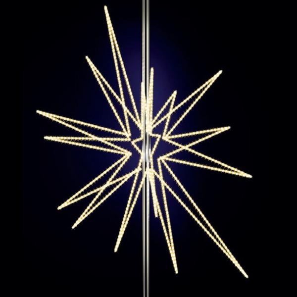 Stern Feona 200, H200, B150, L150cm, warmweiss, 3D, 6-teilig, Kandelaberbeleuchtung, Pfostenmontage