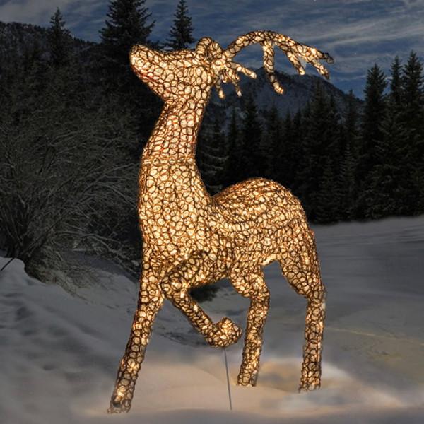 Rentier springend, 400 warmweisse LED Twinkle, Schmuckfigur AUSVERKAUFT für 2019