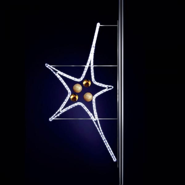 Leuchtstern Aries 170, H150, B80cm, kaltweiss, Kugeln gold, Pfostenmontage