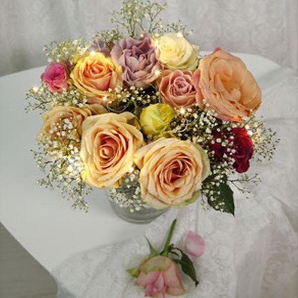 Blumenstrauss Lichterbouquet, 10 Stränge 15cm, 10 LED, indoor