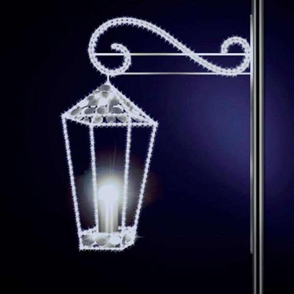 Leuchtlaterne Chontel 70, H70, B60, L25cm, kaltweiss, 3D, Glitter, Pfostenmontage