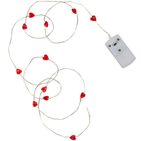 Drahtlichterkette silberfarbig mit 12 roten Herzen mit LED beleuchtet, Indoor