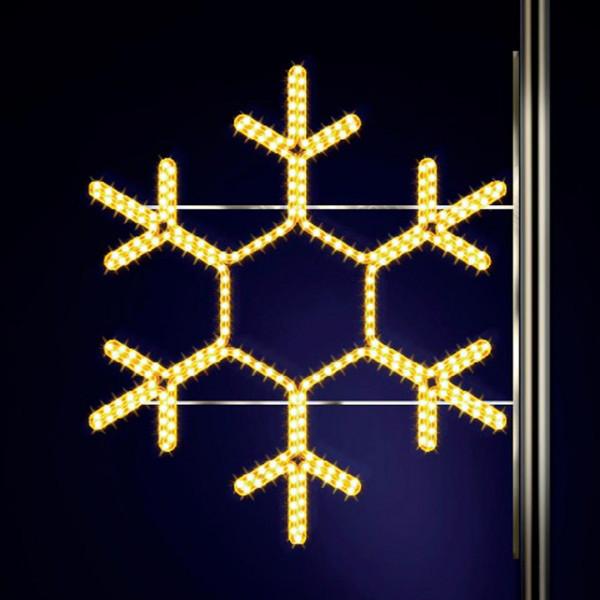 Schneeflocke Classic 120, H120, B120cm, warmweiss, Strassenlichter, Kandelabermontage