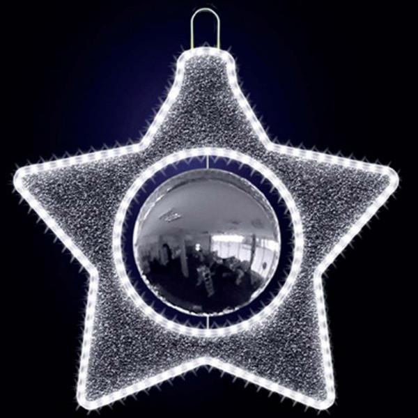 Weihnachtsbaumschmuck Marcello 60, L60, B60, H60cm, kaltweiss, Kugel silber, Baumschmuck