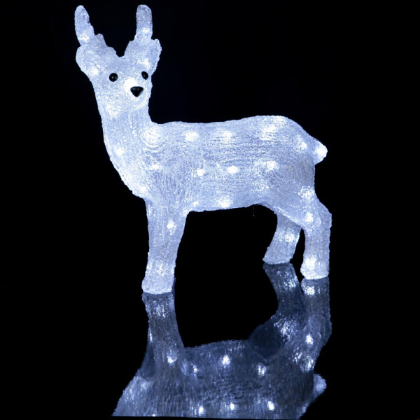 Rentier Dekofigur Acryl 33x35x13cm 40 LED kaltweiss