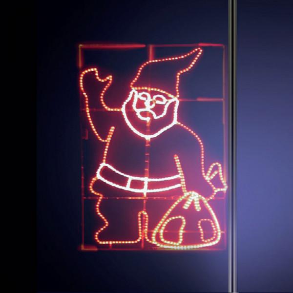 Leuchtsilhouette Santa 200, H200, B120cm, rot, weiss, gelb, Pfostenmontage