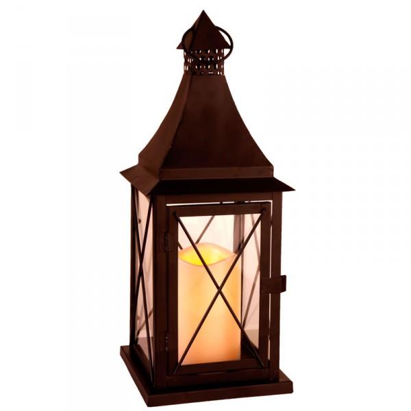 Laterne LED, Farbe schwarz, 1 Kerze, 37 cm x 14 cm, batteriebetrieben