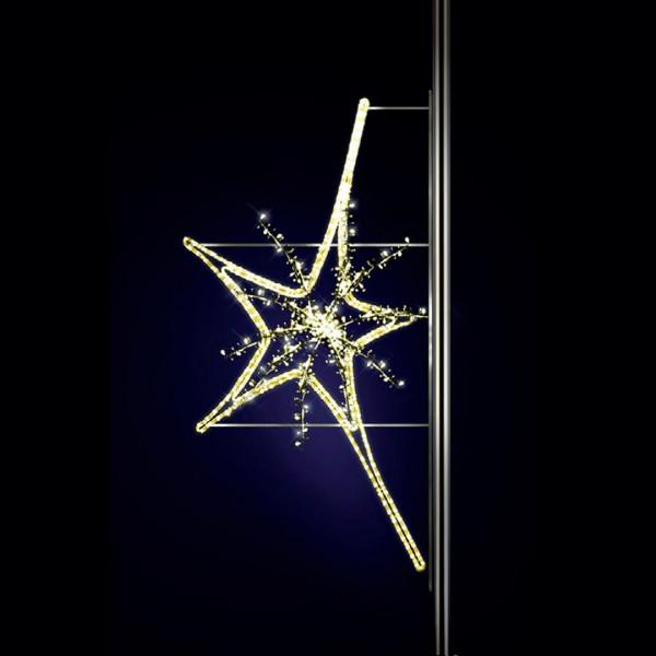 Leuchtstern Aries 160, H150, B75, L60cm, warmweiss, 3D, Strassenlichter, Pfostenmontage