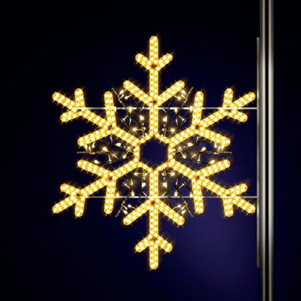 Schneeflocke Elba 130, H130, B130cm, warmweiss, Strassenlampen, Kandelabermontage