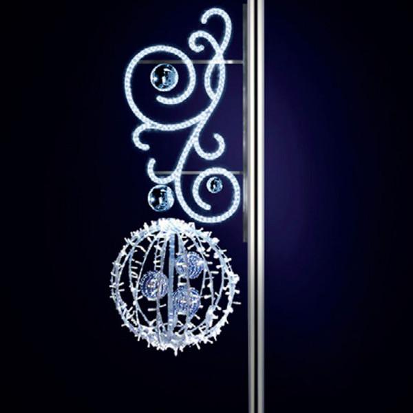 Leuchtkugel Michelle 180, H180, B60, L60cm, kaltweiss, 3D, Kugeln silber, Kandelaberbeleuchtung
