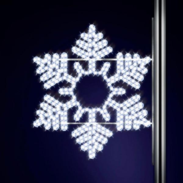 Schneeflocke Snowflake 90, H90, B100cm, kaltweiss, Strassenlampen, Kandelabermontage