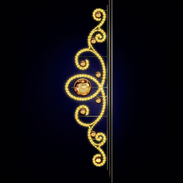Strassenweihnachtslichter Marcel 280, H280, B80 cm, warmweiss, Pfostenmontage