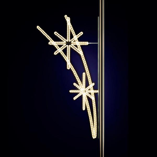 Weihnachtsstern Salute 300, H300, B170 cm, warmweiss, Kandelaberbeleuchtung, Pfostenmontage
