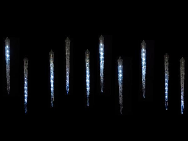 Snow Motion Eiszapfenlichterkette, 10 kaltweiss LED Zapfen, 100 LED