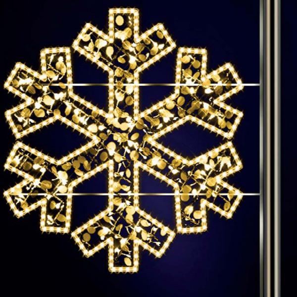 Schneeflocke Gabriel 120, H120, B125cm, warmweiss, mit Glitter, Pfostenmontage