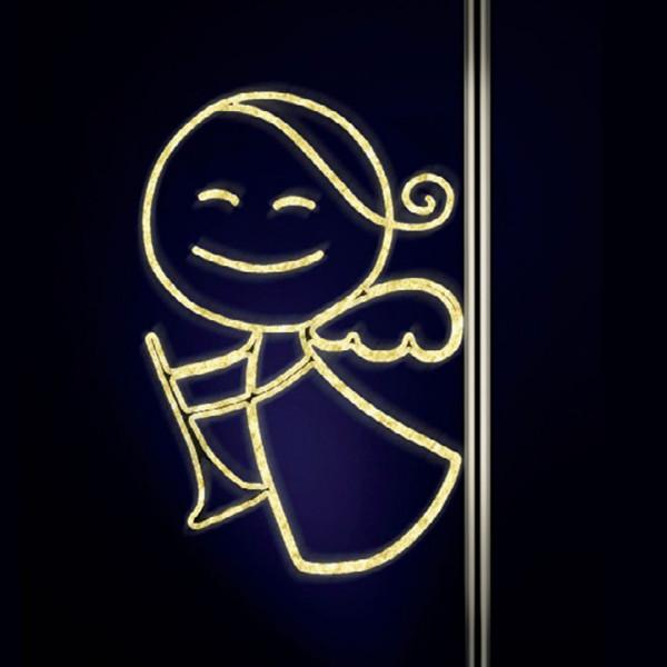 Lichtfigur Angela mit Trompete 180, H 80, B120cm, warmweiss, Pfostenmontage
