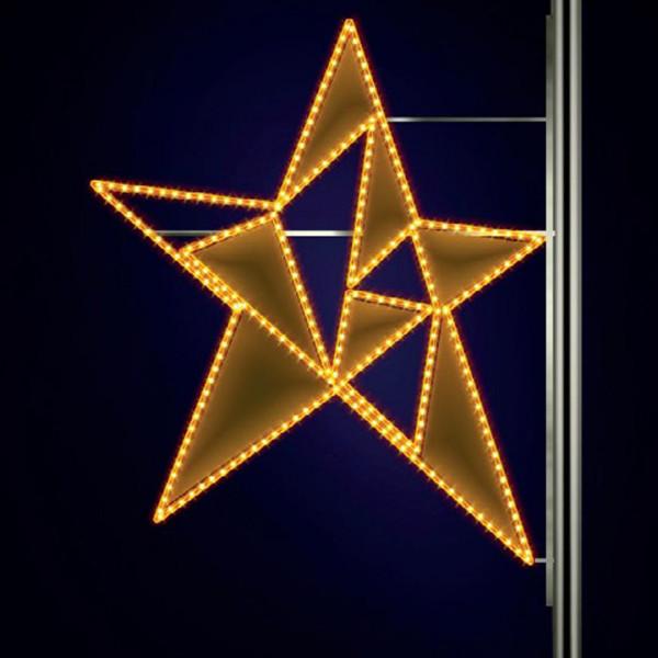 Leuchtstern Phil 120, H120, B110cm, warmweiss, Strassenbeleuchtung, Montage an Pfosten