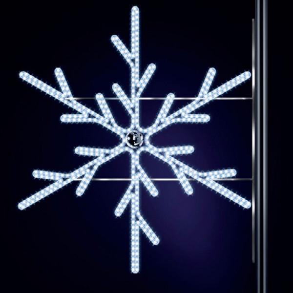 Schneeflocke Lulu 150, H150, B140cm, kaltweiss, Kugel silber, Strassenlichter, Kandelabermontage