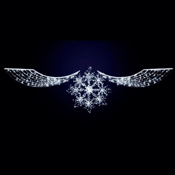 Schneeflocke mit Ornament, Noa 600, H170, B600cm, kaltweiss, Seilmontage