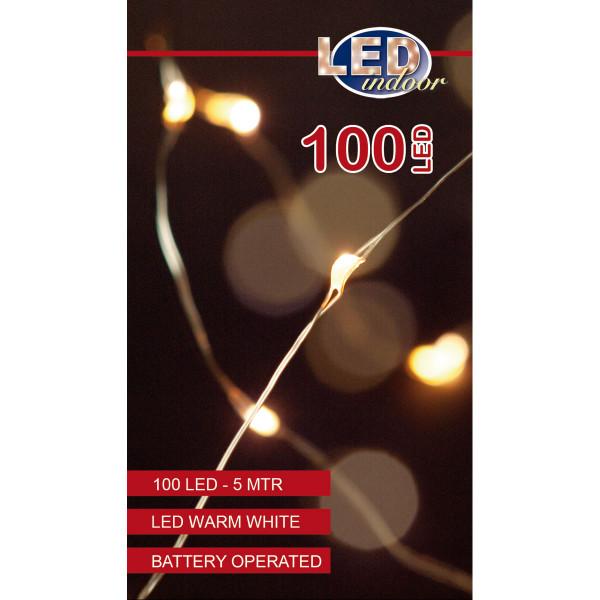 Drahtlichterkette silberfarbig, 1 Strang 500 cm, 100 LED warmweiss, Indoor