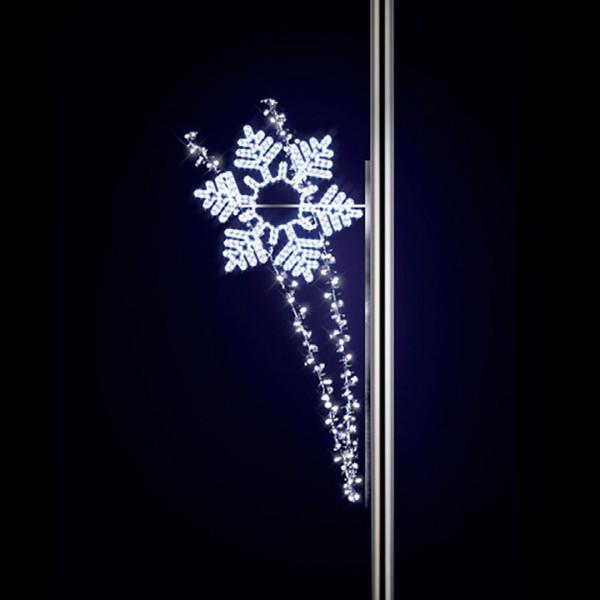 Schneeflocke Salute 220, H200, B110cm, kaltweiss, Kandelalaberbeleuchtung, Pfostenmontage