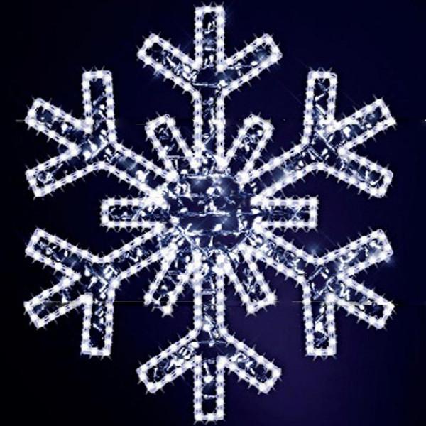 Schneeflocke Gabriela 120, H120, B110cm, kaltweiss, leicht blinkend, Wandmontage