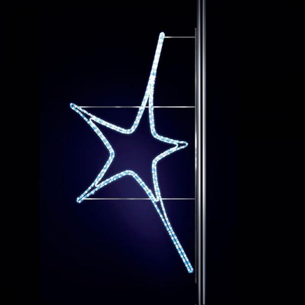 Leuchtstern Aries 150, H150, B80cm, kaltweiss, Strassenlichter, Pfostenmontage