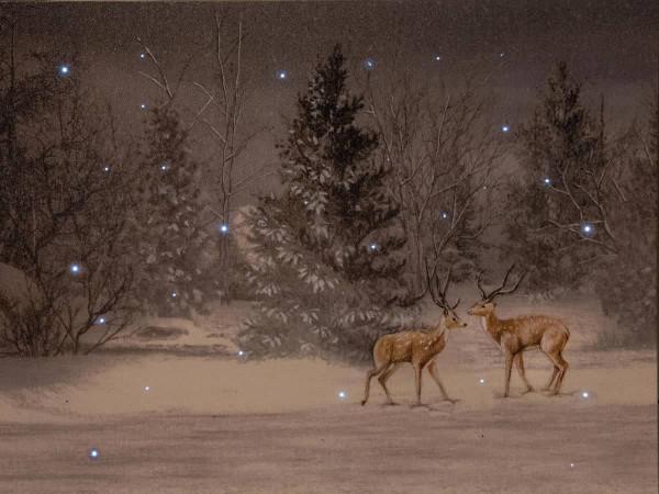 Leuchtbild LED Leinwand Hirsche im Schnee Wildtiere 38x48cm