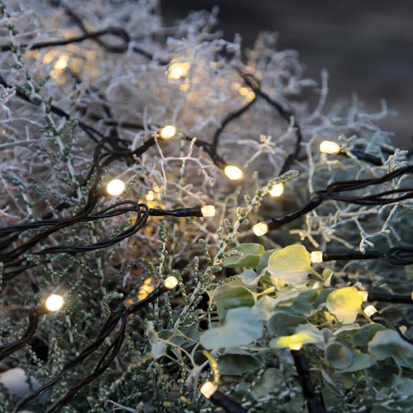 Lichterkette LED Outdoor, 80 warmweisse LED, Kabel schwarz