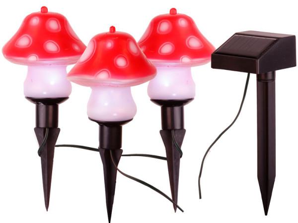 Solarlichterkette Pilze, 3-teilig, LED kaltweiss, Solarpanel, Akku