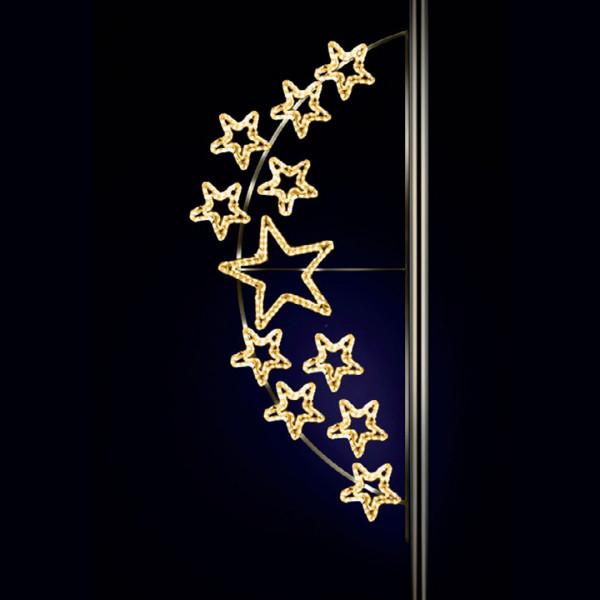Weihnachtsstern Andromeda 250, H250, B100cm, warmweiss, Strassenbeleuchtung, Pfostenmontage