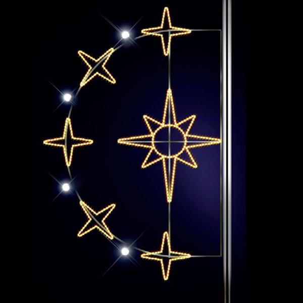 Stern Aurora 185, H185, B125 cm, warmweiss, E27 Flash-Birne, Strassenlichter, Pfostenmontage