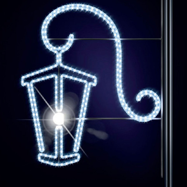 Leuchtlaterne Moni 150, H150, B135cm, kaltweiss, Kandelabermontage